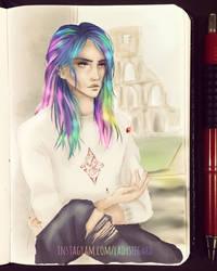 Take your chances - rainbow hair sketch by LadySeegard