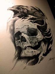 Crow and skull by AndreySkull
