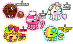 Adoptables - Candy Aqualettes (4/5 Open) by SugarySweetSprites