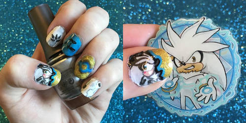 Silver the Hedgehog Nail Art by SugarySweetSprites
