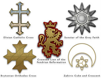 The World of Aeran - Religious Symbols - Colour by ZenithComics
