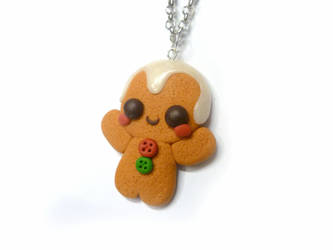 Polymer clay kawaii Gingerbread Man necklace by TenereDelizie