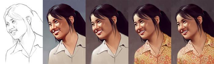 Grandma Portrait process by GBWhisper