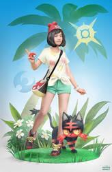 Pokemon Sun Moon Female trainer with Litten by maximegirault
