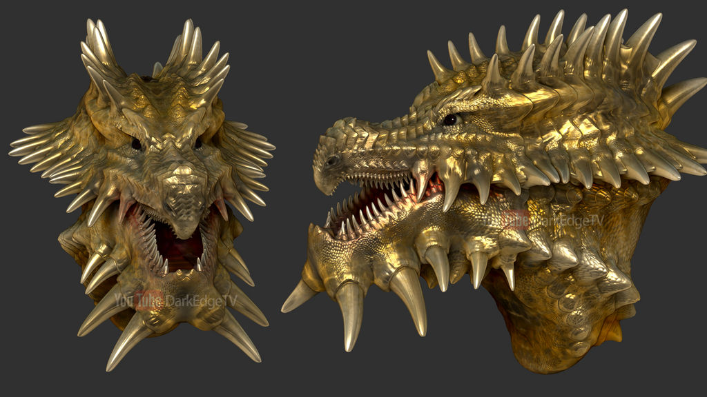 ZBrush - Golden Spikey Chinface (doodle) by Rebecca1208