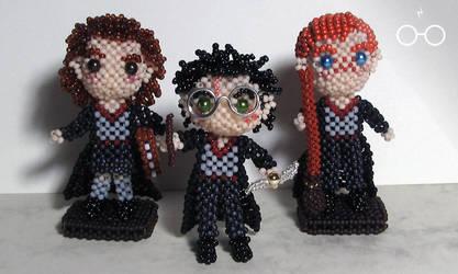 Doll set: Harry Potter main trio by crafty-maika