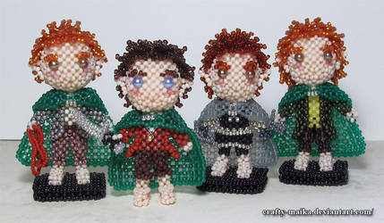 Doll set: The Fellowship Hobbits by crafty-maika