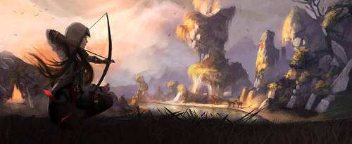 fantasy landscape by Ecassandra