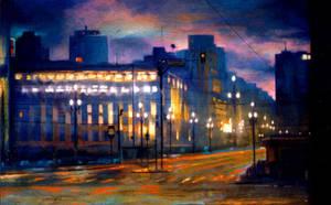 city at dusk by gregoriogruber