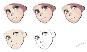 WIP Face Manga paint process by Torbak