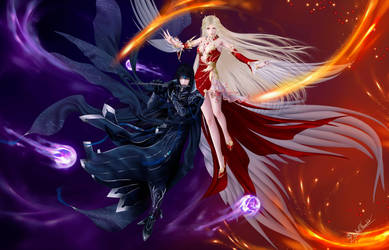 Amaterasu and Tsukuyomi by thanomluk