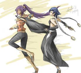 Yoruichi vs Soifon by iheartsonic