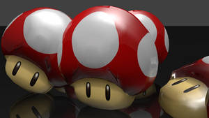 GLASS MUSHROOMS! Super Mario Powerup 3D Render by HomelessGoomba