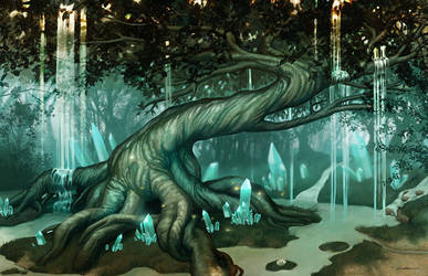 Fairy Tree Waterfall by LeoNealArt