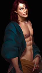 Ezra Shirtless Pinup by LeoNealArt