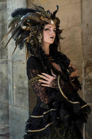 Stock - Black  gold Vampire Queen Faun Demon 26 by S-T-A-R-gazer