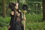 Stock - Faun Shaman Portrait Fantasy Female Dark 2 by S-T-A-R-gazer