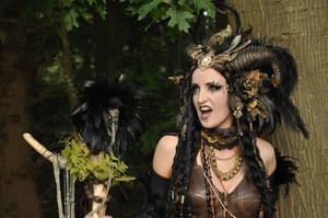 Stock - Faun Shaman Portrait Fantasy Female Dark 8 by S-T-A-R-gazer