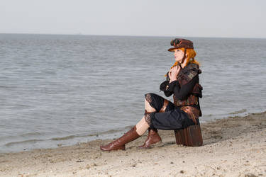 Stock - Steampunk sad at the sea waiting pose by S-T-A-R-gazer
