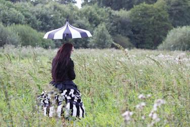 Stock - In the fields back umbrella burton gohtic by S-T-A-R-gazer