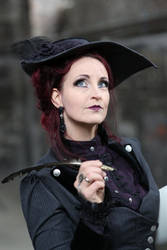 Stock - Steampunk woman with feather by S-T-A-R-gazer