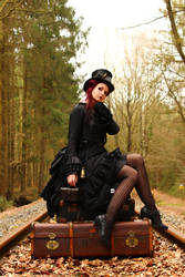 Stock - Steampunk sitting on trunks puppet pose by S-T-A-R-gazer
