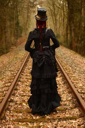 Stock - Steampunk on railway backview 3 by S-T-A-R-gazer