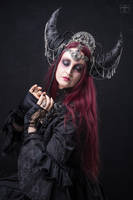 Stock - The dark  moon queen side closed eyes pose by S-T-A-R-gazer
