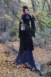 Stock - Gothic autumn lady lantern full body 3 by S-T-A-R-gazer