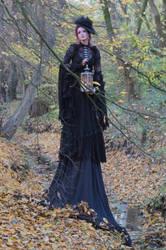 Stock - Gothic autumn lady lantern full body 4 by S-T-A-R-gazer