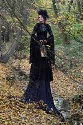 Stock - Gothic autumn lady lantern full body 5 by S-T-A-R-gazer