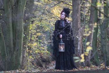 Stock - Gothic autumn lady lantern full body walk by S-T-A-R-gazer