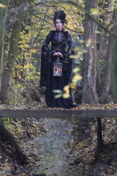 Stock - Gothic autumn lady lantern full body walk2 by S-T-A-R-gazer