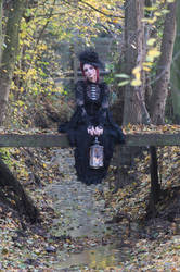Stock - Gothic autumn lady sitting bridge pose 1 by S-T-A-R-gazer