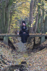 Stock - Gothic lady sitting on bridge romantic by S-T-A-R-gazer
