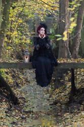 Stock - Gothic lady sitting bridge hand pose by S-T-A-R-gazer