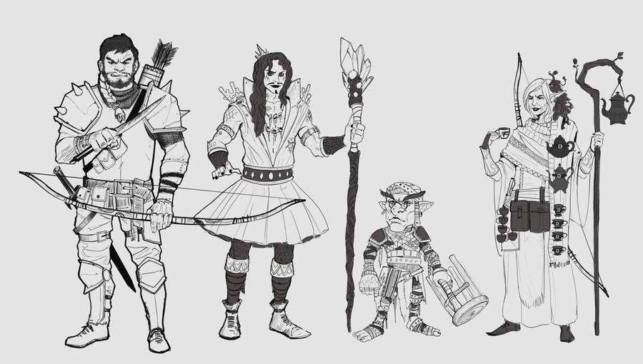 Dnd group sketches by dante2906