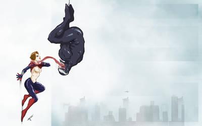 Spider Girl and Venom by deadinsane
