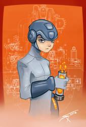 Mega Man with  Energy Pellet by deadinsane