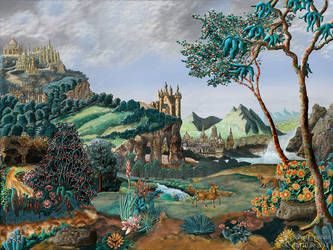 Surreal baroque Landscape by nahojis