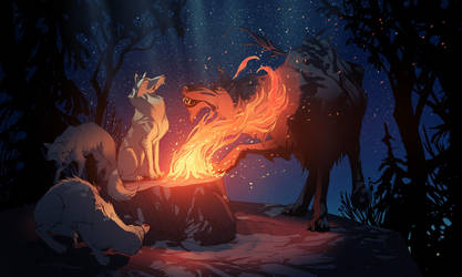 Wolves by MattRhodesArt