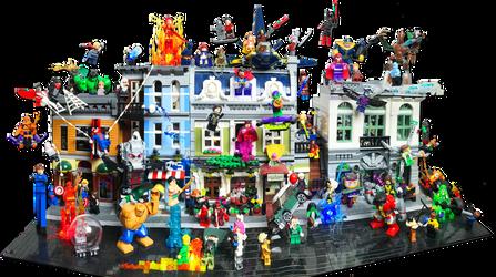 Lego Modular Builds w/ Marvel Heros Battle by Rogue24