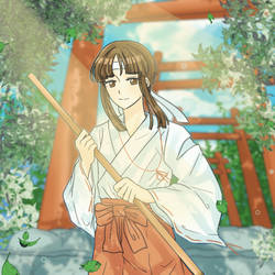 Shrine maiden by okqwerq