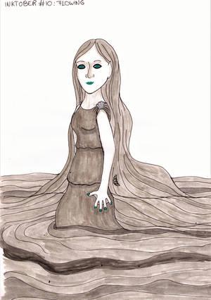 Inktober #10 - Flowing by MoonyMina