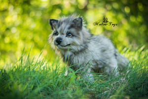 SOLD! Handmade Poseable toy wolf cub by MalinaToys