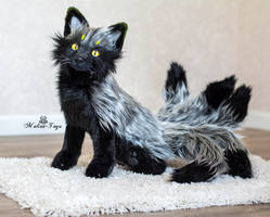 Poseable toy commission six-tailed fox by MalinaToys