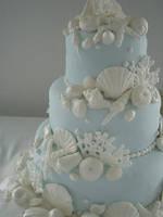 Blue And White Seashell Cake by xXx--Kawaii--xXx