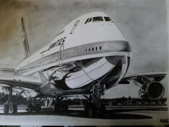 Boeing 747-200 drawing by alainmi