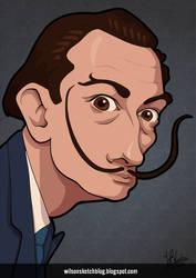 Salvador Dali (Cartoon Caricature) by wilson-santos