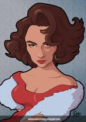 Elizabeth Taylor (Cartoon Caricature) by wilson-santos